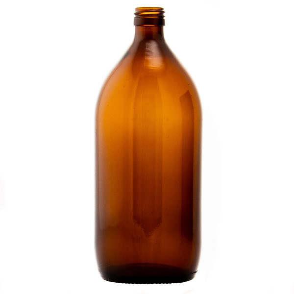 Glasflaska Medincinflaska brun (1000lv) 1000ml ny